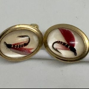 Fly Fishing Lure Gold Tone Cufflinks Cuff Links